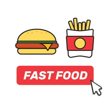 Fast food set of hamburger classic burger potatoes french for soft drinks