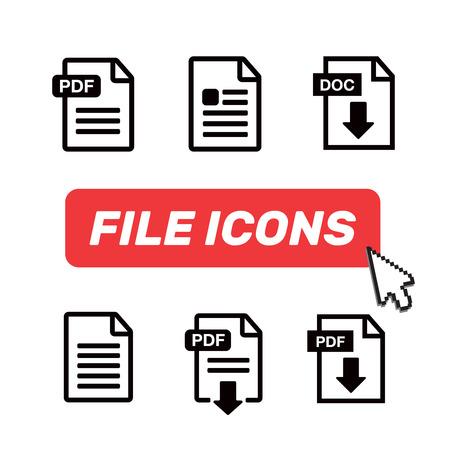 Icon paper file. File Icons. Document icon set  イラスト・ベクター素材