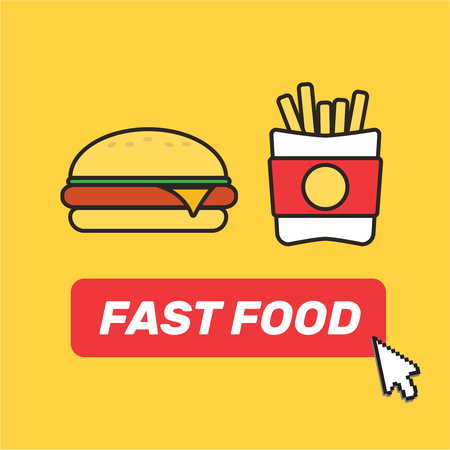 Burger Potatoes French Fries. Fast food snacks and drinks