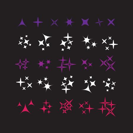 Sparkle lights stars set. Bright firework, decoration twinkle, shiny flash Imagens - 101902631
