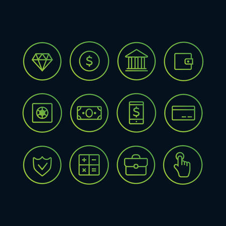 Money banking cash business and finance icons. Tax and finance icons vector set Illustration