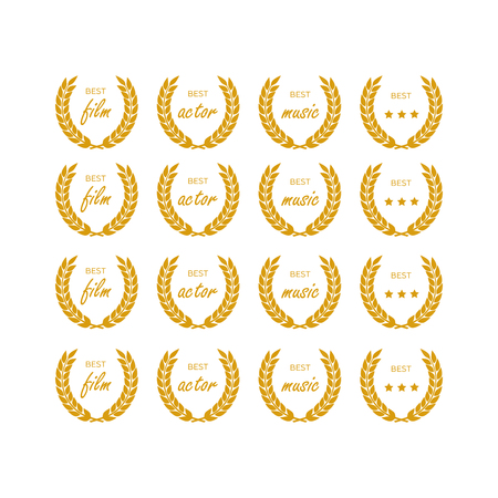 Vector laurel wreaths for heraldry antiquity award. Vector medal and award icons set