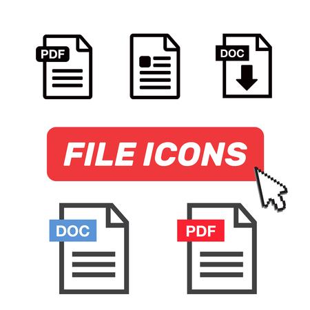File Icons. File Icons line style illustration. Document icon set  イラスト・ベクター素材