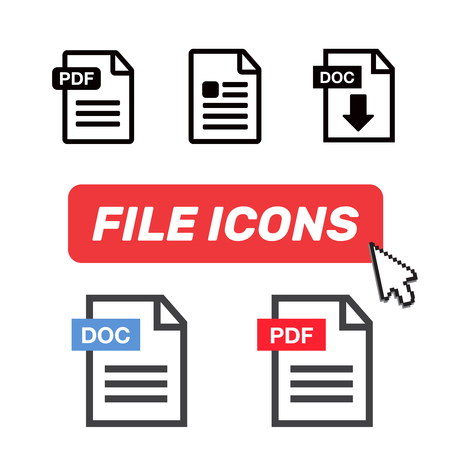 File Icons. File Icons line style illustration. Document icon set Illustration
