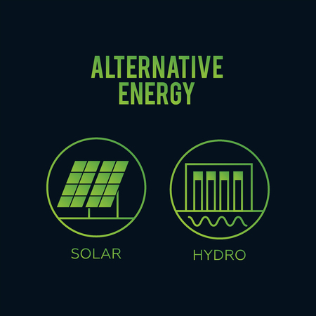 Generation energy types. Renewable alternative, solar and tidal, wind and geothermal. Renewable energy. Eco energy concept