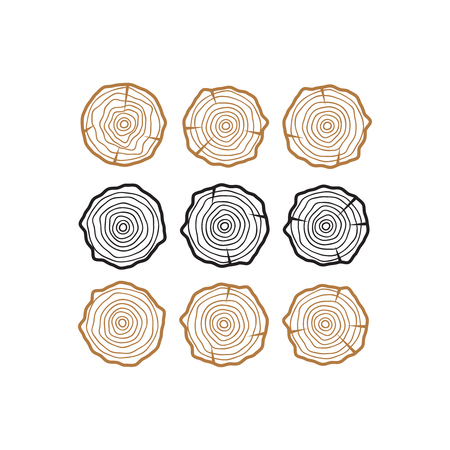 Vector tree rings. Wood texture vector. Abstract circle tree background Vettoriali
