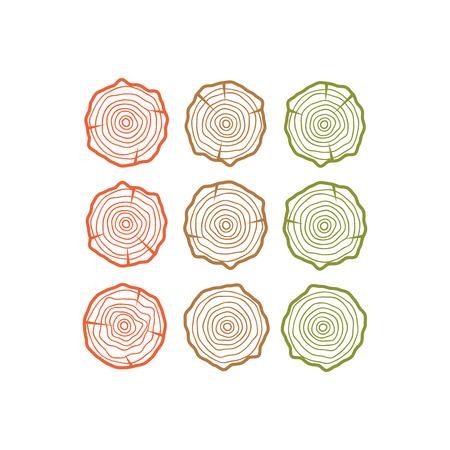 Modèle d'affiche en bois. Vecteur d'anneaux de croissance annuelle. Vecteur de texture bois Vecteurs