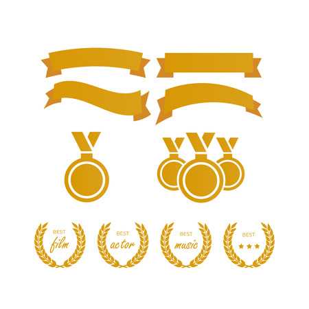 Vector medal and award icons set. Laurel wreaths and ribbon rosettes vector