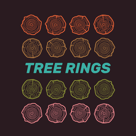 Vector tree rings background. Wood ring line vector