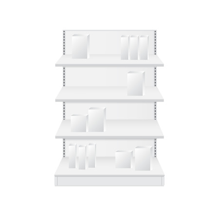 Set of white empty store shelves. Retail shelf vector Stock Illustratie