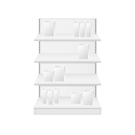Set of white empty store shelves. Retail shelf vector Illustration