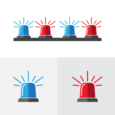 Special Flashers of Emergency and Police Fire Ambulance. Light emergency icon flat vector