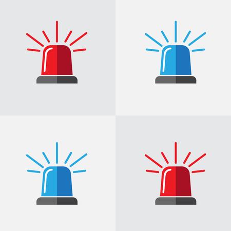Intermitente de la policía, conjunto de vectores de sirena. Icono de sirena intermitente roja y azul de policía o ambulancia. Vector plano de icono de alarma o emergencia Foto de archivo - 102628367