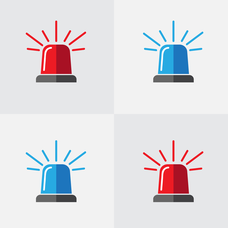 Lampeggiatore della polizia, insieme di vettore della sirena. Icona della sirena lampeggiatore rosso e blu della polizia o dell'ambulanza. Allarme o icona di emergenza vettore piatto