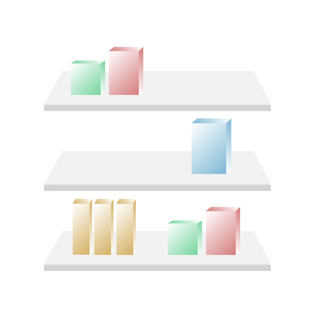 Shop shelves isolated. Store shelves vector. Shelf retail mockup vector Çizim