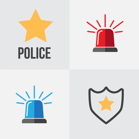 Siren emergency set of four alarm sirens icons. Police or ambulance red and blue flasher siren icon. Stock Photo