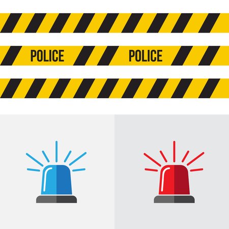 Red and blue sirens. Flashing alarm signal. Flasher alert icon Illustration