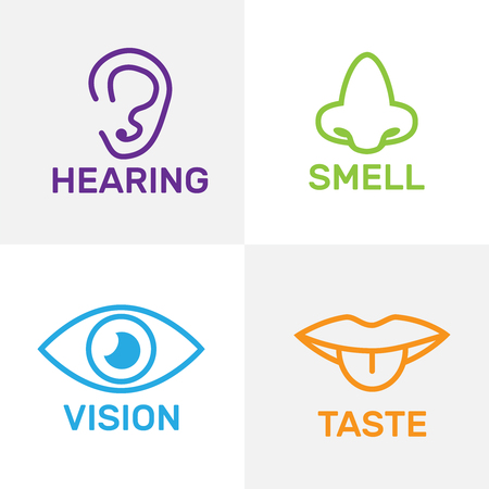 Sets of icons representing the five senses. Sight, smell, hearing, touch, taste icons vector Çizim