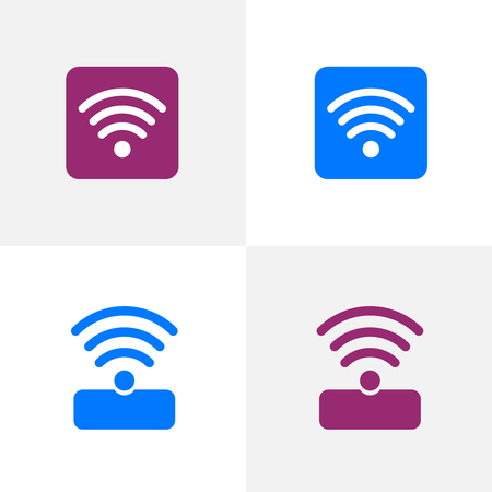 Free public wifi connection for a laptop or mobile device. Free wi-fi icons and wifi applications Иллюстрация