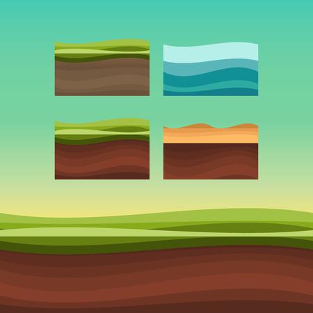 Suelos, suelos y vectores terrestres sin fisuras para juegos de interfaz de usuario