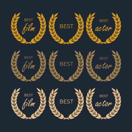 Laurel wheat awards heraldry antiquity. Winner triumph and success vector laurel Illustration