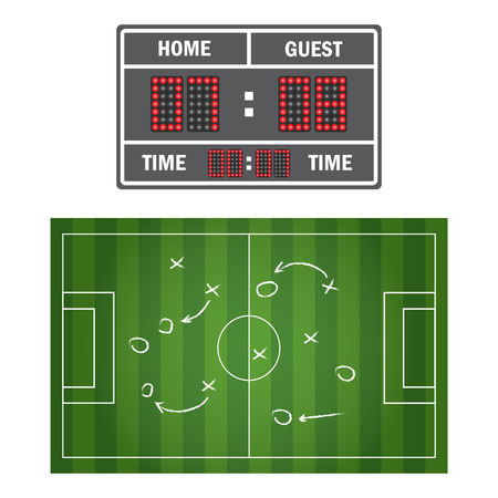 Soccer game. Football field and players. Strategy and teamwork chalkboard Stock Illustratie