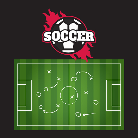 Hand drawing soccer game strategy. Blackboard showing a schematic game plan for football 矢量图像
