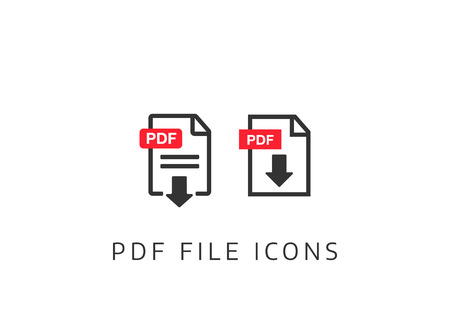 PDF Document icon set. File Icons. PDF file download icon Illustration