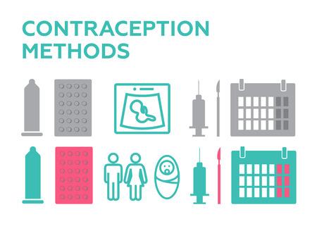 Pregnancy icons set, contraception vector. Planning pregnancy. Birth calendar
