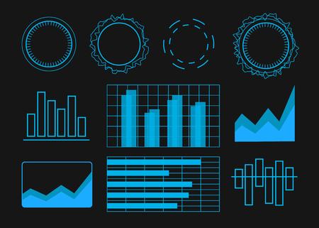 Futuristic user interface elements set vector illustration 向量圖像