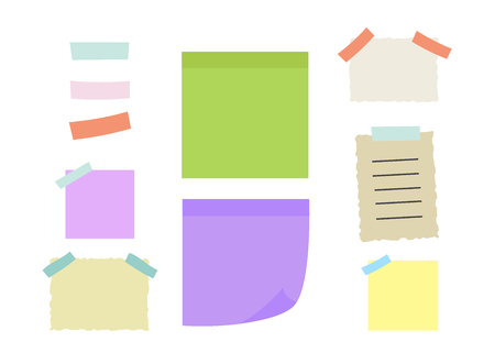 Yellow post it notes isolated. Colored sheets of note papers vector illustration