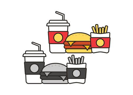 Fast-food snacks en drankjes platte vector iconen. Fast-Food pictogrammen. Snackzak vector voedsel Vector Illustratie