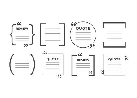 Quote text bubble. Quote blank template. Empty quote bubble. Ilustração Vetorial