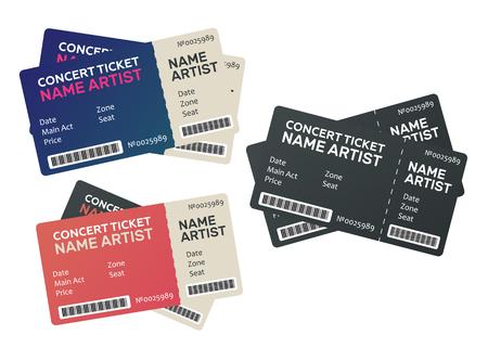 Vector paper ticket. Music, Dance, Live Concert tickets templates