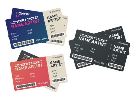 Vector paper ticket. Music, Dance, Live Concert tickets templates