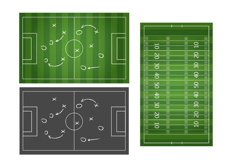 Football or soccer game strategy plan isolated on blackboard with chalk rubbed background. Football or soccer strategy board
