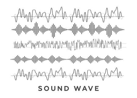 Sound waves concept. Sound waves vector. Sound waves sign and symbol in flat style Ilustração