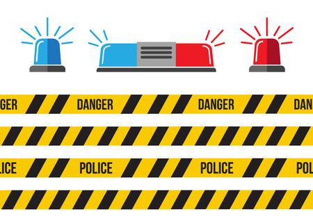 Siren set. Police flasher or ambulance flasher. Siren police light vector Vektorové ilustrace