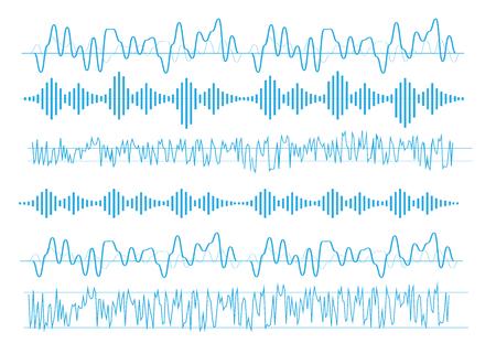 Vector sound waves. Equalizer technology. Radio wave vector Ilustração