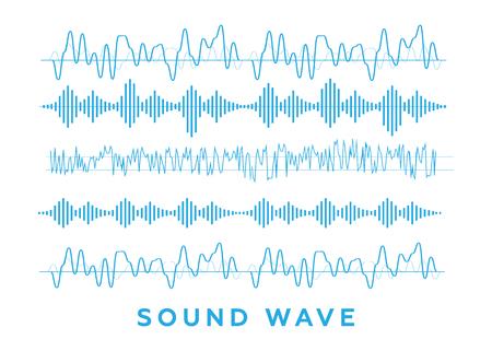 Sound waves set. Radio wave form vector Ilustração