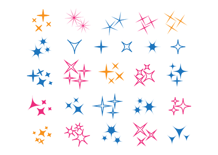 Sparkle lights stars set. Glowing light effect star.