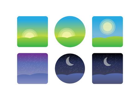 Naturlandschaft zu Tageszeiten. Ikonen Morgen, Nachtzyklus