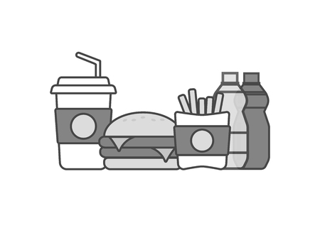 Fast food icons. Burger and hamburger, snack vector
