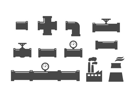 Pipe fittings vector icons set. Plumbing, water pipes sewage