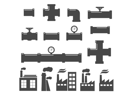 Set of black isolated plumbing pipes icon. Pipe fittings vector icons set