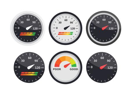 Guage-Symbol. Kreditscoreindikatoren und Messgerätvektorsatz. Ergebnis-Vektor-Symbol