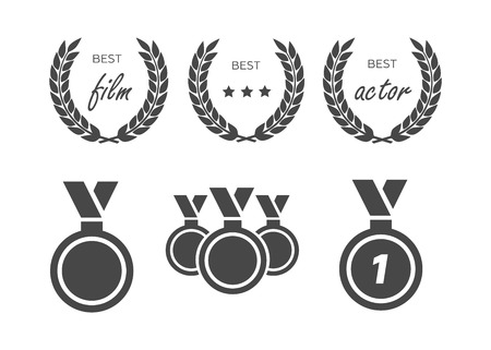 Film Awards, gold award. Winner triumph and success vector laurel Illustration