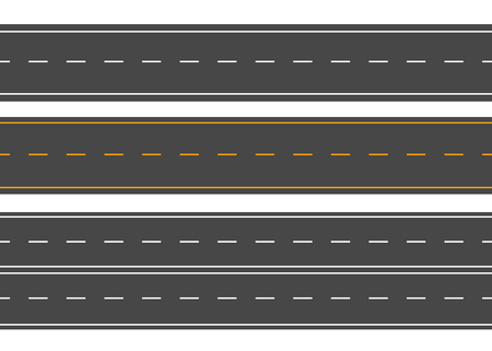 Horizontal roads. Street vector road flat. Asphalt road sign Çizim