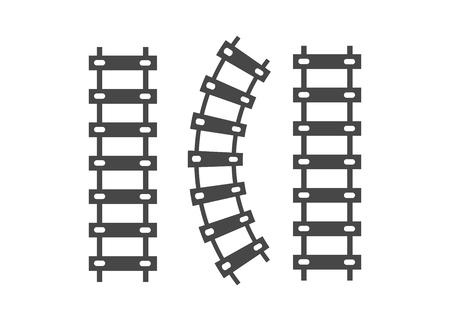 Eisenbahnbahngleisvektor. Eisenbahnschienen-Eisenbahnikone Vektorgrafik