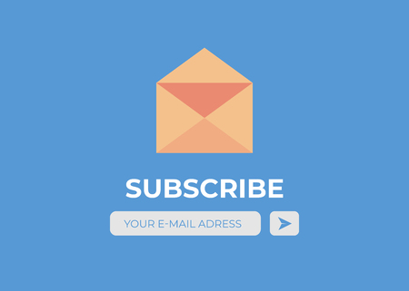 Email subscribe vector. Envelope and subscribe button, newsletter
